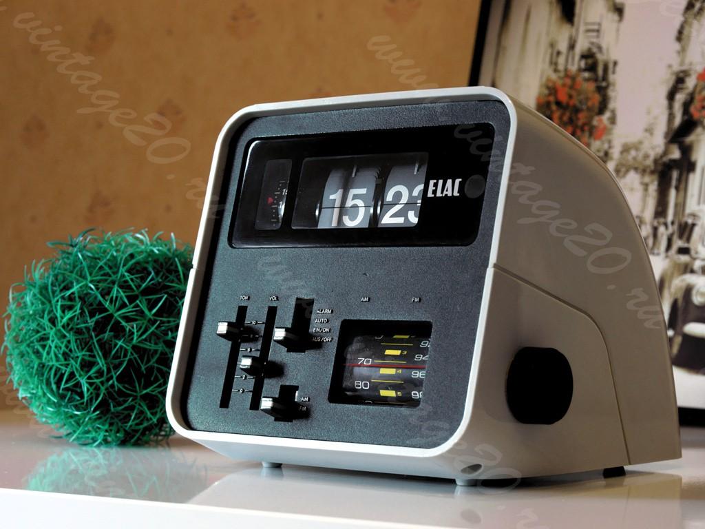 Немецкие винтажные часы с радио, будильником и подсветкой — ELAC RD-100
